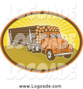 Clipart of a Logging Truck and Sunshine Logo by Patrimonio