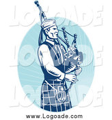 Clipart of a Logo Blue Bagpipe Player and Oval by Patrimonio