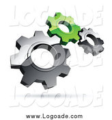 Clipart of a Logo of 3d Floating Silver and Green Gears by Beboy