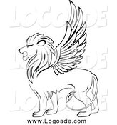 Clipart of a Logo of a Black and White Winged Lion by Vector Tradition SM