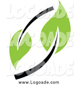 Clipart of a Logo of a Green and Black Seedling Plant by Elena