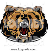 Clipart of a Logo of a Roaring Bear Head by Chromaco