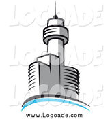 Clipart of a Logo of a Tower Skyscraper and Blue Arch by Vector Tradition SM
