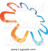 Clipart of a Logo of an Abstract Tilted Circle in Orange and Blue by Cidepix