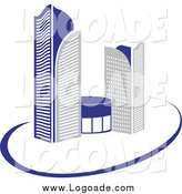 Clipart of a Logo of Gray and Blue Skyscraper Buildings and a Swoosh by Vector Tradition SM