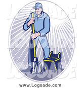 Clipart of a Male Janitor Using a Mop in a Ray Oval Logo by Patrimonio