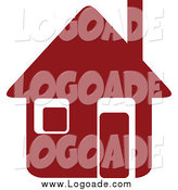 Clipart of a Maroon House Logo by Vector Tradition SM