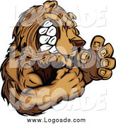 Clipart of a Muscular Aggressive Bear Logo by Chromaco