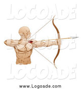 Clipart of a Muscuolar Male Archer Logo by AtStockIllustration