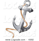 Clipart of a Nautical Anchor and Rope Logo by Vector Tradition SM