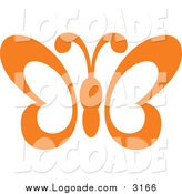 Clipart of a Orange Butterfly Flying Logo by Vector Tradition SM