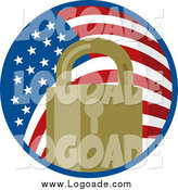 Clipart of a Padlock in an American Flag Circle by Patrimonio