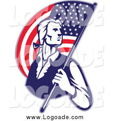 Clipart of a Patriotic Soldier Carrying an American Flag Logo by Patrimonio