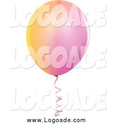 Clipart of a Pink and Yellow Party Balloon Logo by Dero
