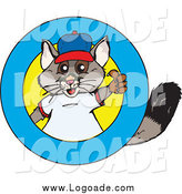 Clipart of a Possum Holding a Thumb up in a Ring Logo by Dennis Holmes Designs
