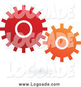 Clipart of a Red and Orange Mechanical Gears Floating over a Shadow Logo by Cidepix