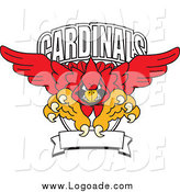 Clipart of a Red Cardinal with a Banner and Text Logo by Toons4Biz