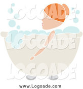 Clipart of a Red Haired Woman Soaking in a Bubble Bath Logo by Pams Clipart