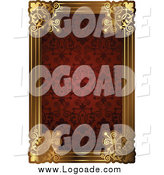 Clipart of a Red Pattern and Gold Frame with Copyspace by AtStockIllustration