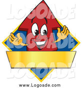 Clipart of a Red up Arrow and a Blank Gold Banner on a Blue Diamond by Toons4Biz