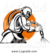 Clipart of a Retro Black and White Sandblaster Worker over an Orange Circle Logo by Patrimonio