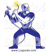 August 6th, 2014: Clipart of a Retro Blue Male Welder Squatting Logo by Patrimonio