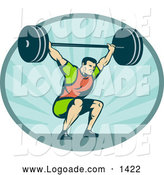 Clipart of a Retro Bodybuilder Squatting with a Barbell Logo by Patrimonio