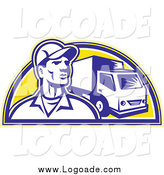 Clipart of a Retro Delivery Man and Truck Logo by Patrimonio