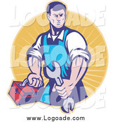 July 18th, 2014: Clipart of a Retro Male Mechanic Holding a Spanner Logo by Patrimonio