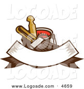Clipart of a Retro Paintbrush Bucket and Banner Logo by Patrimonio