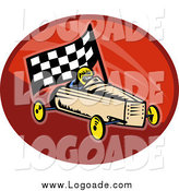 Clipart of a Retro Soap Box Racer and Car Logo by Patrimonio