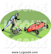 Clipart of a Retro Soap Box Racer in an Oval Logo by Patrimonio