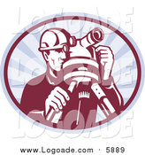 September 27th, 2015: Clipart of a Retro Surveyor Using a Theodolite in an Oval of Rays by Patrimonio