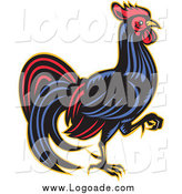 Clipart of a Retro Walking Rooster in Profile Logo by Patrimonio