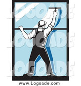 Clipart of a Retro Window Washer Guy Using a Squeegee by Patrimonio