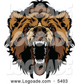 Clipart of a Roaring Bear Face Logo by Chromaco