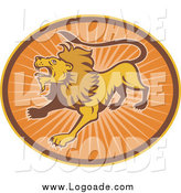 Clipart of a Roaring Lion in an Oval of Orange Rays Logo by Patrimonio