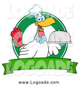 Clipart of a Rooster Chef Serving a Platter over a Circle and Blank Green Banner Logo by Hit Toon