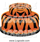 Clipart of a Round Tiger Striped Cake Logo by Pams Clipart