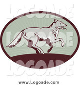 Clipart of a Running Wolf in a Ray Oval Logo by Patrimonio
