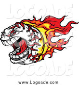 Clipart of a Screaming Aggressive Baseball with Red and Orange Flames Logo by Chromaco