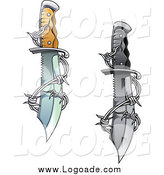 Clipart of a Sharp Daggers Entwined with Barbed Wire by Vector Tradition SM