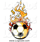 Clipart of a Soccer Ball and Flames Logo by Chromaco