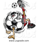 Clipart of a Soccer Ball Chacter Doing a Tricky Kick Sports Logo by Chromaco