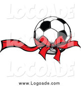 Clipart of a Soccer Ball with a Red Ribbon by Chromaco
