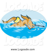 Clipart of a Sporty Dog Swimming Athletics Logo by Patrimonio