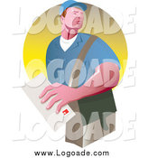 Clipart of a Strong Mailman with a Letter Logo by Patrimonio