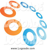 Clipart of a Tilted Circle of Orange and Green Rings Logo by Cidepix