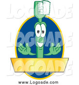 Clipart of a Toothbrush Character with a Gold Banner on a Blue Oval Logo by Toons4Biz