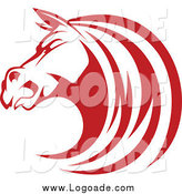 Clipart of a Tough Red Horse Head Logo by Vector Tradition SM